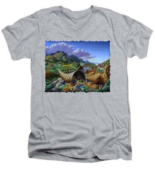 Horn Of Plenty - Cornucopia - Autumn Thanksgiving Harvest Landscape Oil Painting - Food Abundance Men's V-Neck T-Shirt