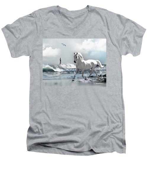 Horse At Roker Pier Men's V-Neck T-Shirt