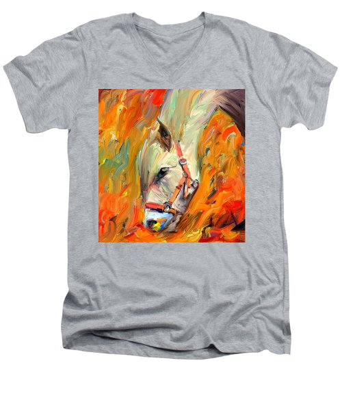 Horse And Grass Men's V-Neck T-Shirt