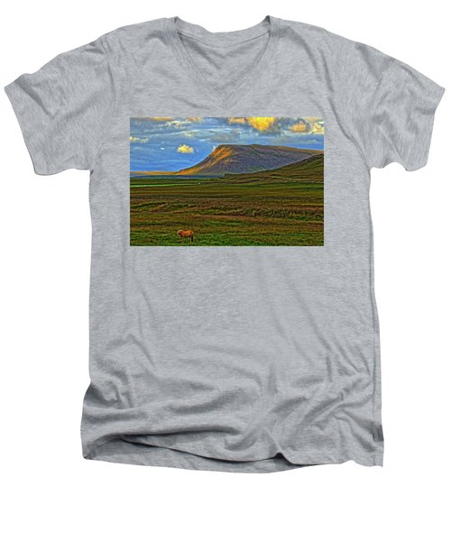 Men's V-Neck T-Shirt featuring the photograph Horse And Sky by Scott Mahon