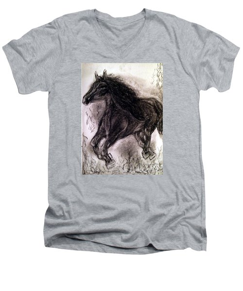 Men's V-Neck T-Shirt featuring the painting Horse by Brindha Naveen