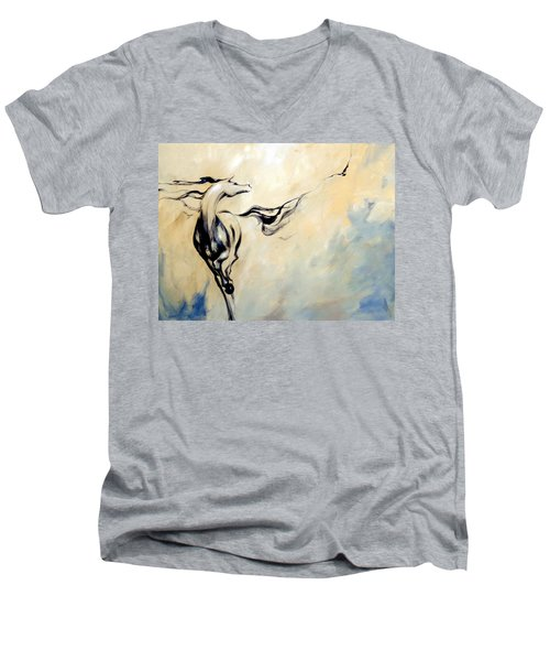 Horse Calling Crow Men's V-Neck T-Shirt by Dina Dargo