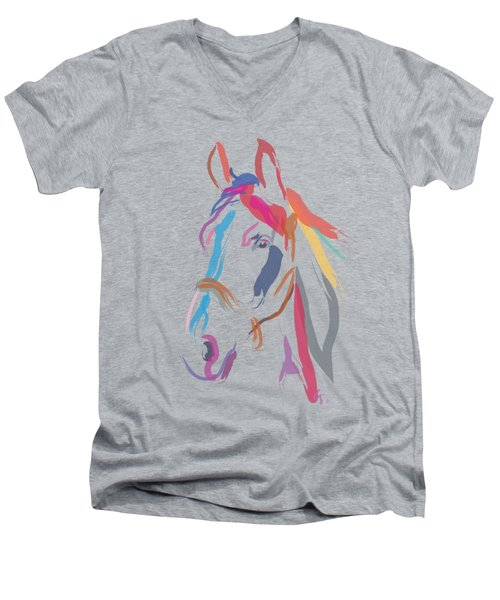 Horse Colour Me Beautiful In Ecru Men's V-Neck T-Shirt
