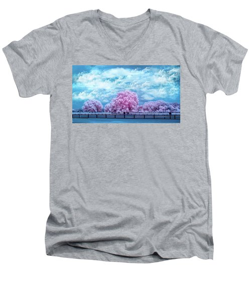 Men's V-Neck T-Shirt featuring the photograph Horse Country In Pink by Louis Ferreira