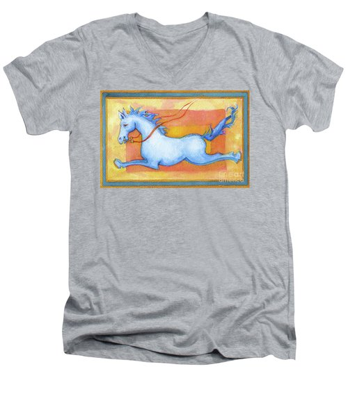 Horse Detail From H Medieval Alphabet Print Men's V-Neck T-Shirt