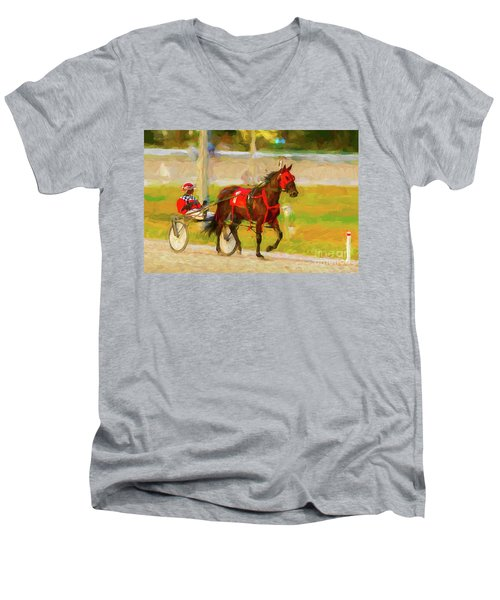 Horse, Harness And Jockey Men's V-Neck T-Shirt by Les Palenik