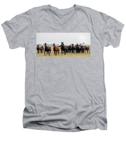 Horse Herd On The Hungarian Puszta Men's V-Neck T-Shirt