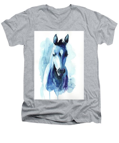 Horse In Blue Men's V-Neck T-Shirt