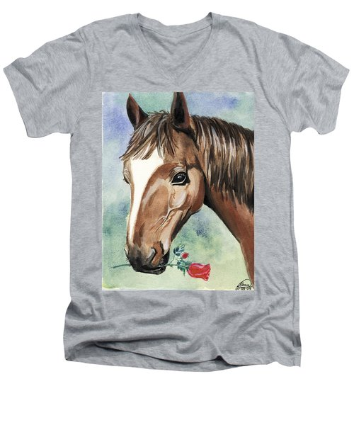 Horse In Love Men's V-Neck T-Shirt