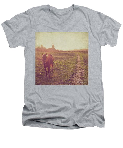 Men's V-Neck T-Shirt featuring the photograph Horse by Lyn Randle