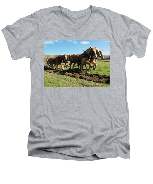 Men's V-Neck T-Shirt featuring the photograph Horse Power by Jeff Swan