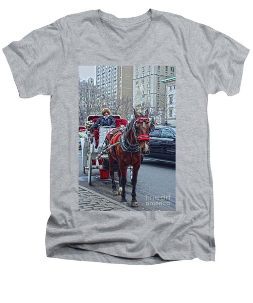 Men's V-Neck T-Shirt featuring the photograph Horse Power by Sandy Moulder
