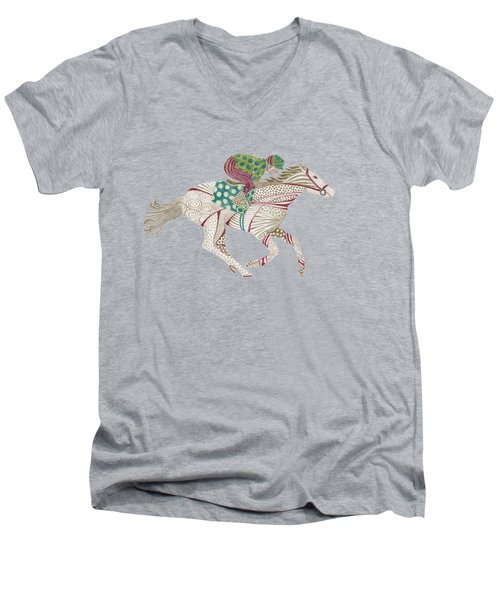 Horse Racer Men's V-Neck T-Shirt