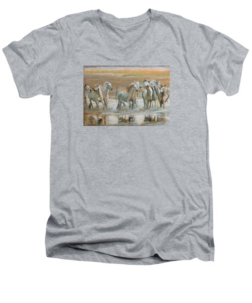Horse Reflection Men's V-Neck T-Shirt by Vali Irina Ciobanu