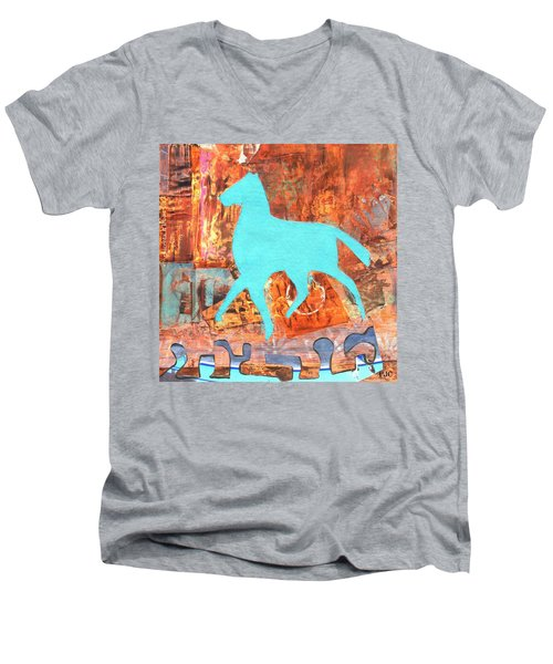 Horse Remix Men's V-Neck T-Shirt by Patricia Cleasby