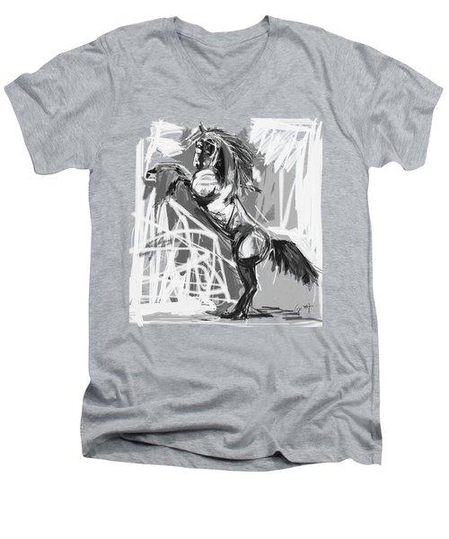 Horse Rising High Black And White Men's V-Neck T-Shirt