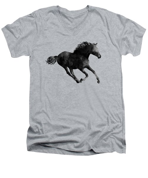 Men's V-Neck T-Shirt featuring the painting Horse Running In Black And White by Hailey E Herrera