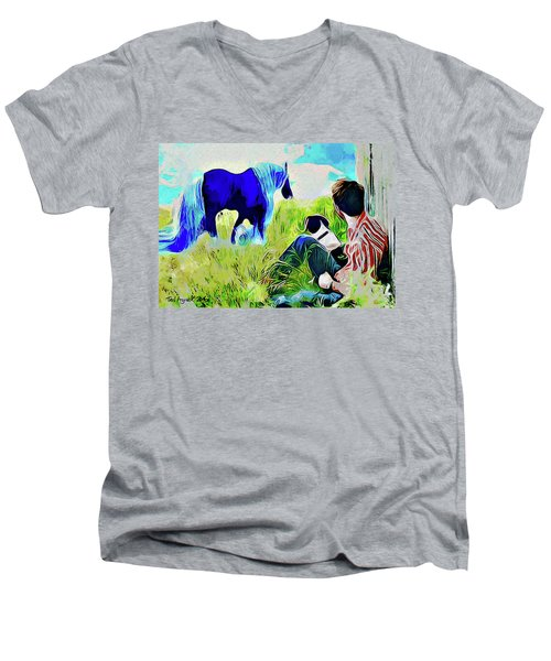 Horse Whisperer Men's V-Neck T-Shirt by Ted Azriel