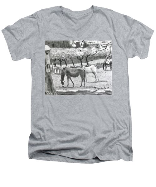 Horses And Trees In Bloom Men's V-Neck T-Shirt