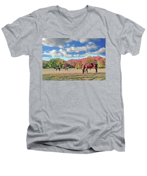 Horses Grazing At A Stable In Maryland Men's V-Neck T-Shirt