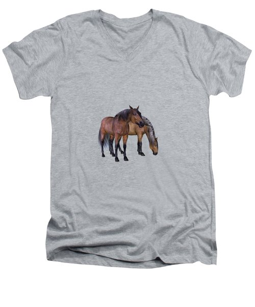 Horses In A Misty Dawn Men's V-Neck T-Shirt
