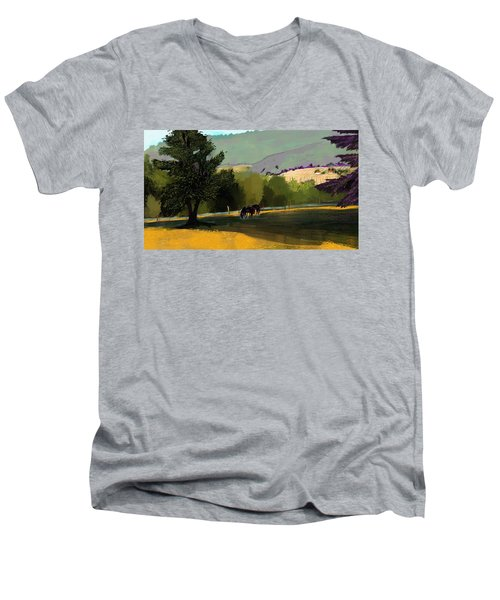 Horses In Field Men's V-Neck T-Shirt by Debra Baldwin