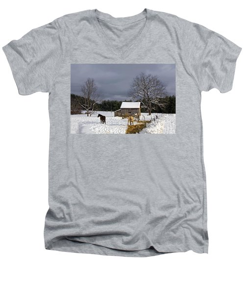 Horses In Snow Men's V-Neck T-Shirt