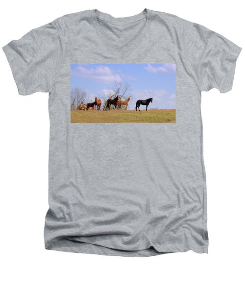 Men's V-Neck T-Shirt featuring the photograph Horses On The Hill by Bonnie Willis