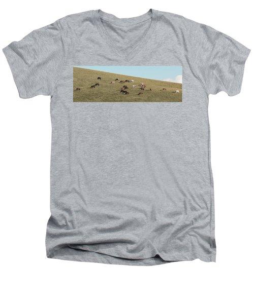 Horses On The Hill Men's V-Neck T-Shirt