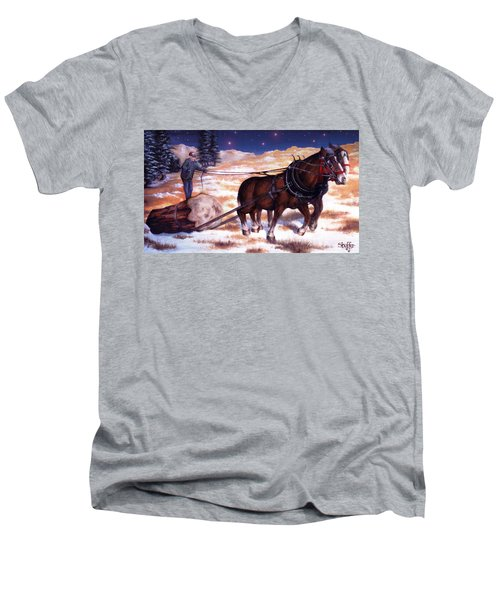 Horses Pulling Log Men's V-Neck T-Shirt
