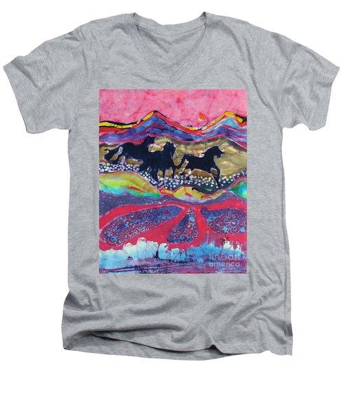Horses Running Thru A Stream Men's V-Neck T-Shirt
