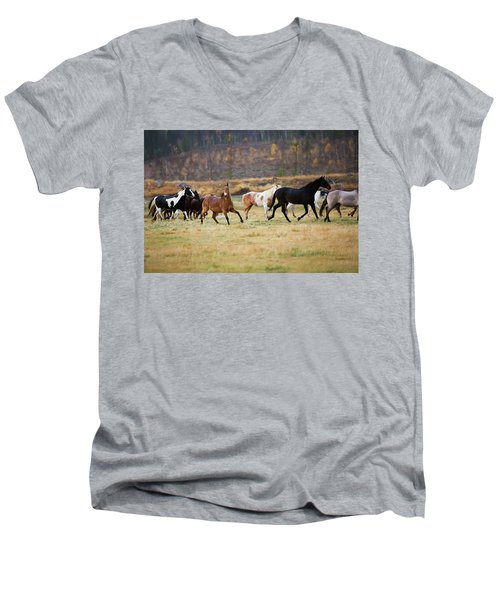 Men's V-Neck T-Shirt featuring the photograph Horses by Sharon Jones