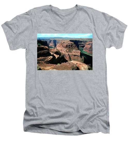 Horseshoe Bend Of The Colorado River Men's V-Neck T-Shirt by Wernher Krutein