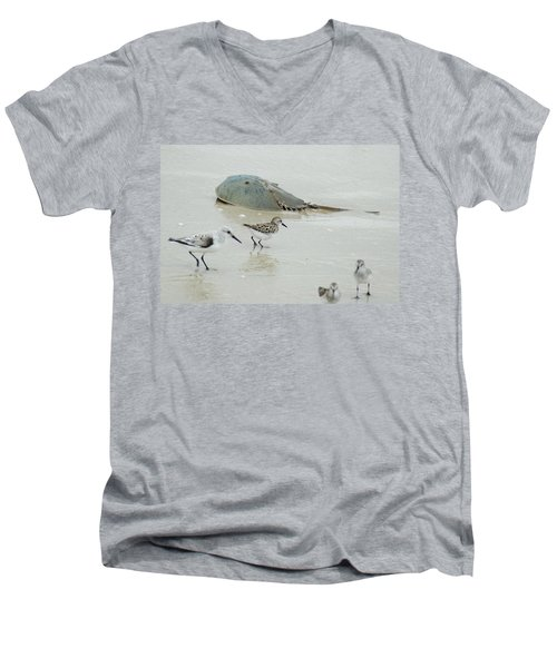 Men's V-Neck T-Shirt featuring the photograph Horseshoe Crab With Migrating Shorebirds by Richard Bryce and Family