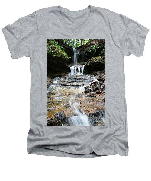 Horseshoe Falls #6735 Men's V-Neck T-Shirt by Mark J Seefeldt
