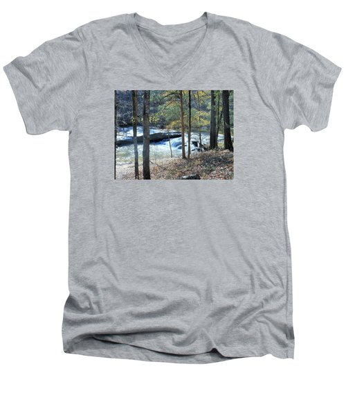 Men's V-Neck T-Shirt featuring the photograph Horseshoe Falls by Kay Gilley