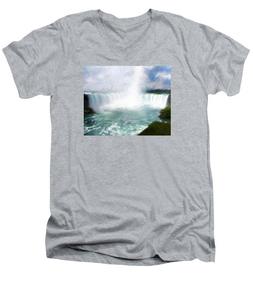 Horseshoe Falls - Niagara Falls Men's V-Neck T-Shirt by John Freidenberg