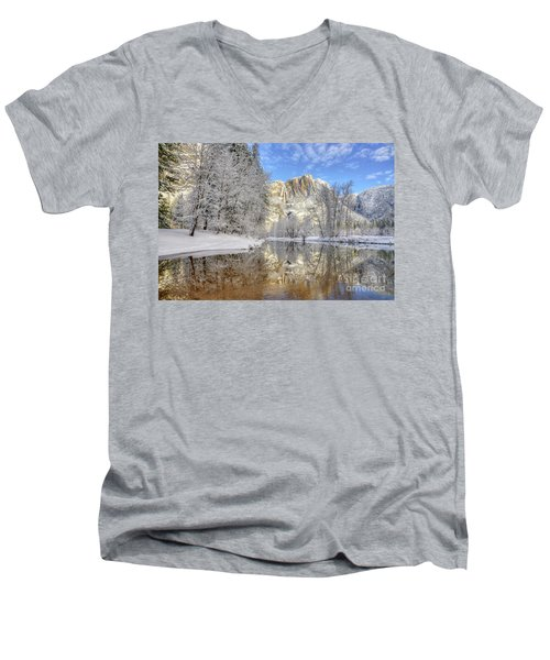 Horsetail Fall Reflections Winter Yosemite National Park Men's V-Neck T-Shirt