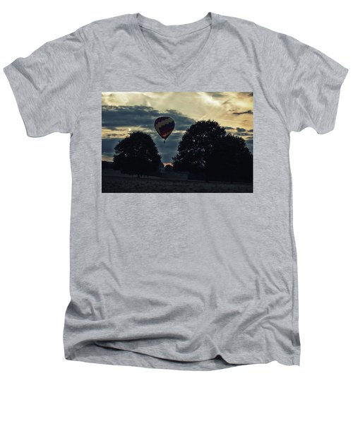 Hot Air Balloon Between The Trees At Dusk Men's V-Neck T-Shirt