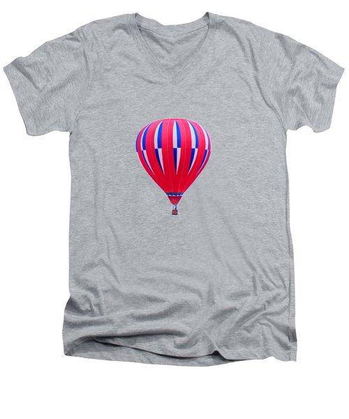 Hot Air Balloon - Red White Blue - Transparent Men's V-Neck T-Shirt by Nikolyn McDonald
