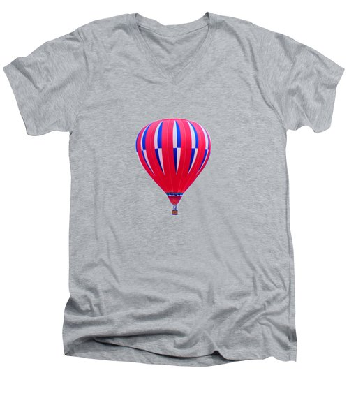 Hot Air Balloon - Red White Blue - Transparent Men's V-Neck T-Shirt