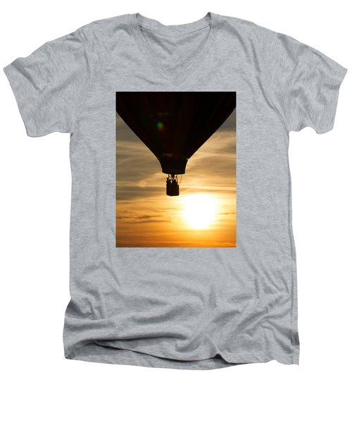 Hot Air Balloon Sunset Silhouette Men's V-Neck T-Shirt by Brian Caldwell