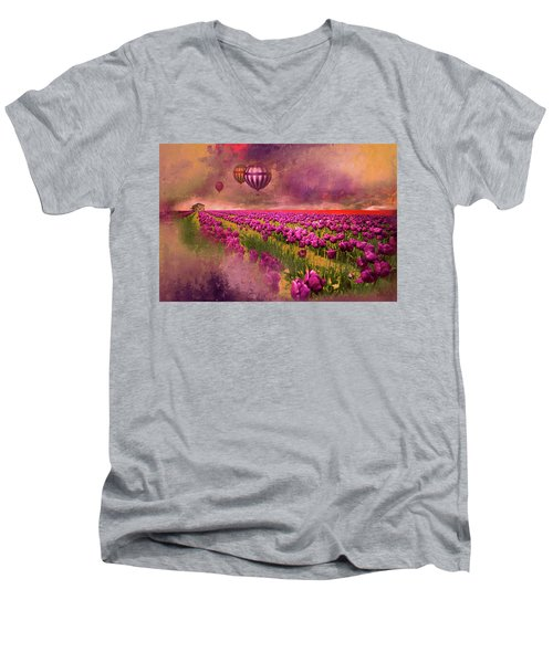 Men's V-Neck T-Shirt featuring the photograph Hot Air Balloons Over Tulip Fields by Jeff Burgess