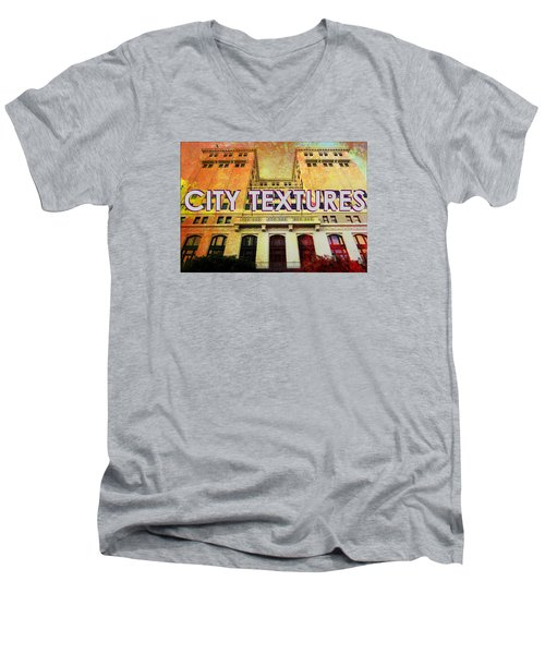 Men's V-Neck T-Shirt featuring the mixed media Hot City Textures by John Fish
