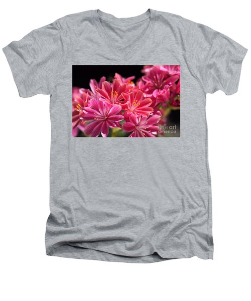 Hot Glowing Pink Delight Of Flowers Men's V-Neck T-Shirt