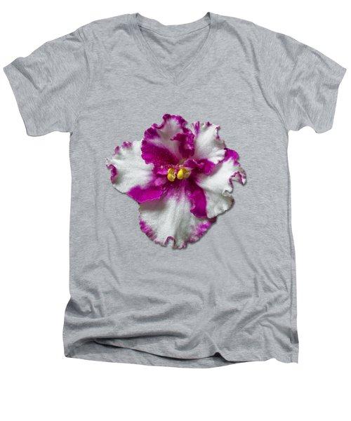 Hot Pink Flower Men's V-Neck T-Shirt by Bob Slitzan