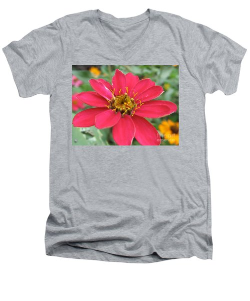 Hot Pink Flower Men's V-Neck T-Shirt
