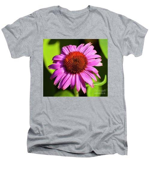Hot Pink Flower Men's V-Neck T-Shirt
