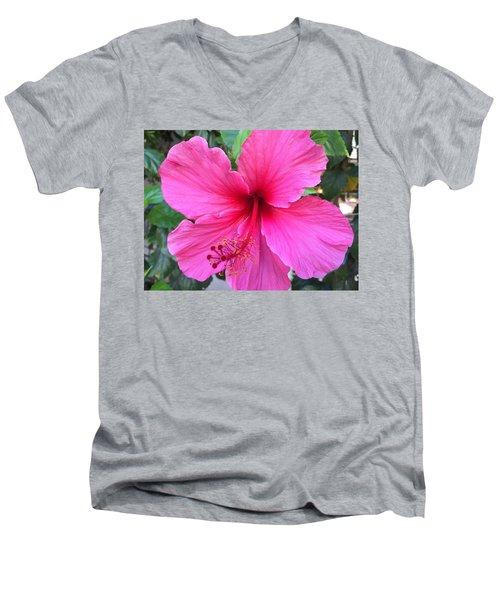 Hot Pink Hibiscus  Men's V-Neck T-Shirt