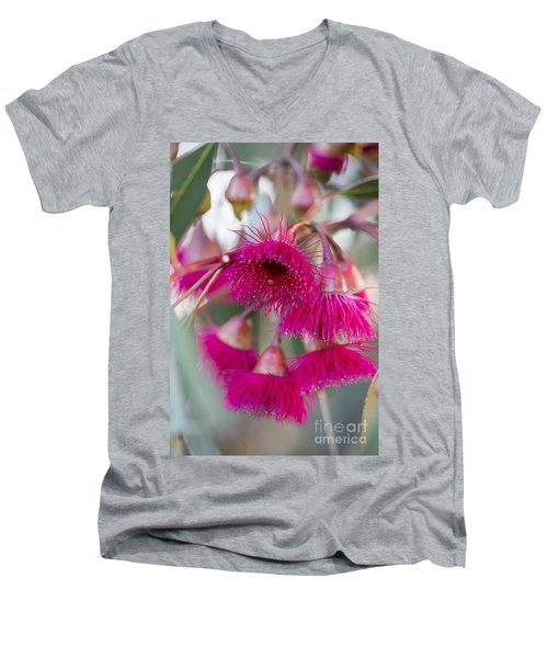 Men's V-Neck T-Shirt featuring the photograph Hot Pink by Linda Lees